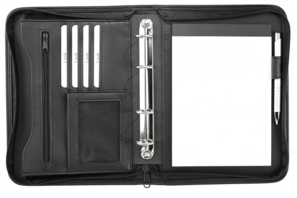 Ringbuchmappe A5 mit Reißverschluss Lederähnliches Felina-Material schwarz excl. Marke EuroStyle