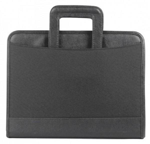 Verkaufsmappe A4 mit Reißverschluss - versenkbare Griffe - Polyester, schwarz excl. Marke EuroStyle