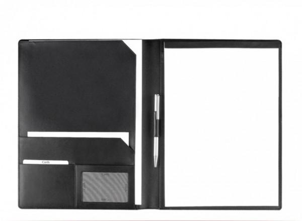 Schreibmappe A4 – Vollrindleder schwarz – excl. Marke EuroStyle