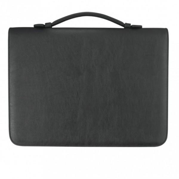 Verkaufsmappe A4 mit Reißverschluss Corello Kunstleder, schwarz excl. Marke EuroStyle