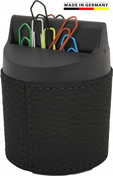 Büroklammernspender Leder Made in Germany-weiches genarbtes Rindleder in 5 Farben
