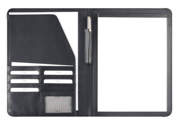 Schreibmappe A4 Lederähnliches Softana- Material, schwarz