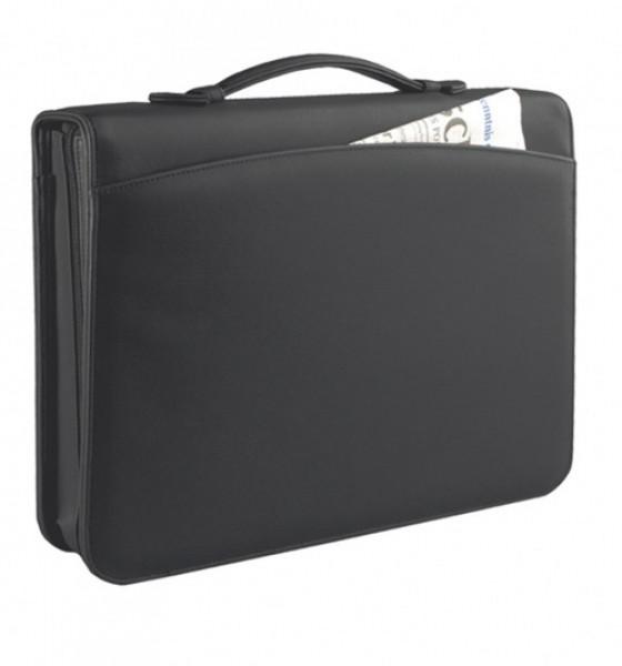 Ringbuchmappe A4 mit Reißverschluss Lederähnliches Softana- Material, schwarz excl. Marke EuroStyle