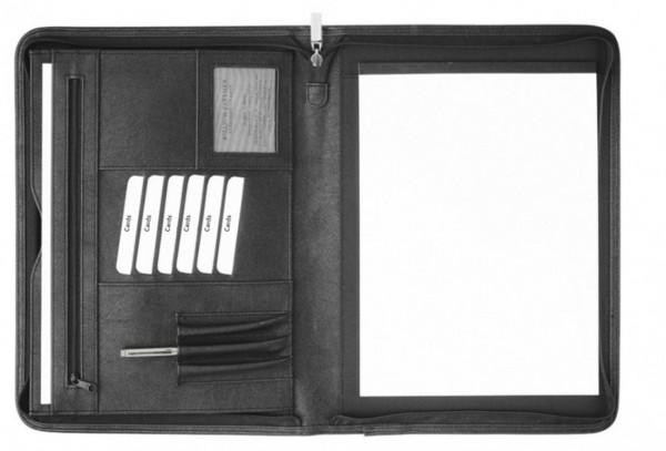 Schreibmappe A4 mit Reißverschluss Corello Kunstleder, schwarz