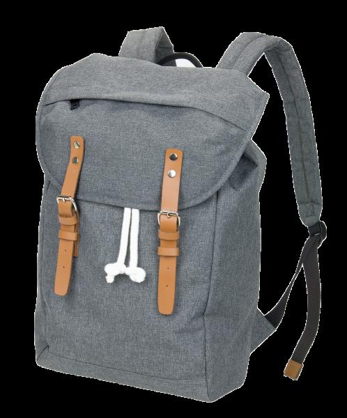 Laptop-Rucksack - hochwertiger Rucksack in Kombination aus Melange und Leder