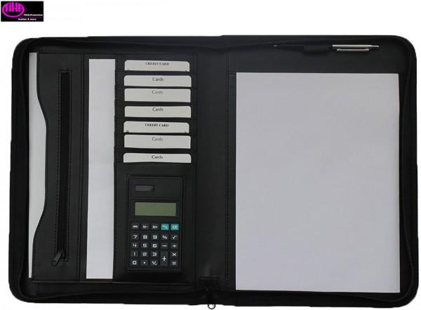 Schreibmappe A4 mit Reißverschluss incl. Rechner Lederähnliches Felina-Material schwarz