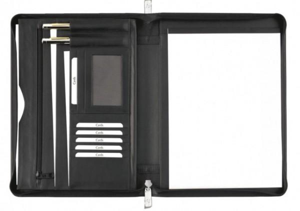Schreibmappe A4 mit Reissverschluß – Pelli - Rindnappaleder schwarz – excl. Marke EuroStyle