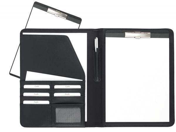 Schreibmappe A4 mit Klemmbrett Lederähnliches Softana- Material, schwarz