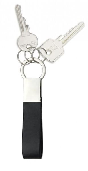 Schlüsselanhänger lederähnliches Material, schwarz