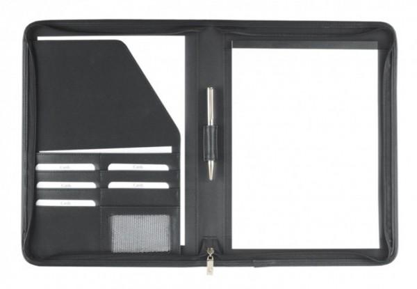 Schreibmappe A4 mit Reißverschluss Lederähnliches Softana- Material, schwarz