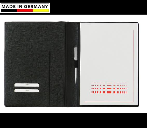 Handmade in Germany, Schreibmappe A5, weiches, genarbtes Rindnappaleder - 5 Farben