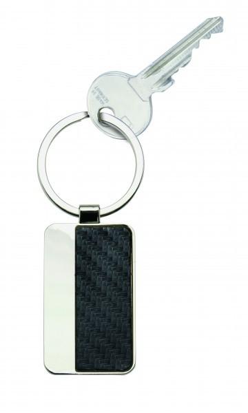 Schlüsselanhänger Rindleder Carbon Optik, schwarz