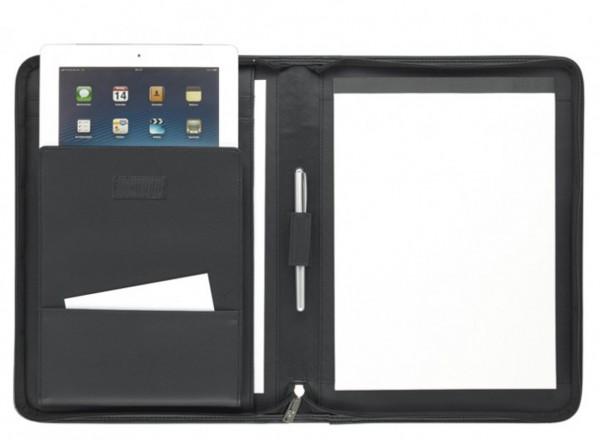 iPad Schreibmappe A4 mit Reißverschluss - Lederähnliches Softana-Material, schwarz