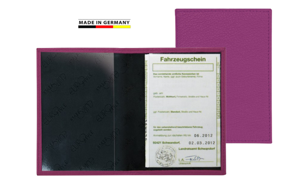 Handmade in Germany Fahrzeugschein-Etui Rindnappaleder in 13 Farben excl. Marke EuroStyle