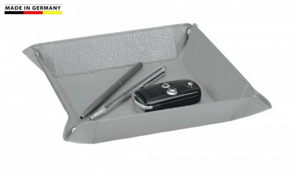 Stifteschale Leder grau 18,0x18,0cm