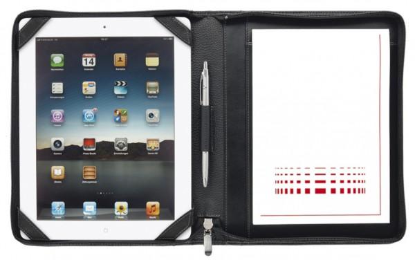 iPad Schreibmappe A5 mit RV - Copana-Rindnappaleder mit silbergrauen Nähten excl. Marke EuroStyle