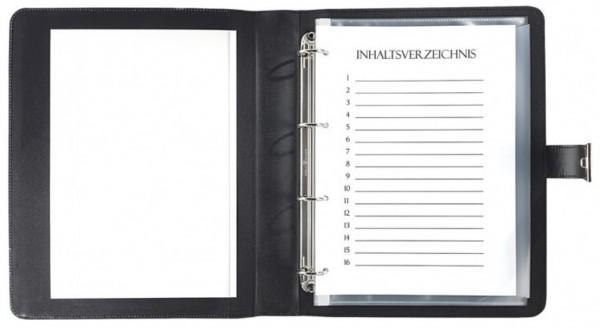Dokumentenmappe Rindleder, schwarz excl. Marke EuroStyle