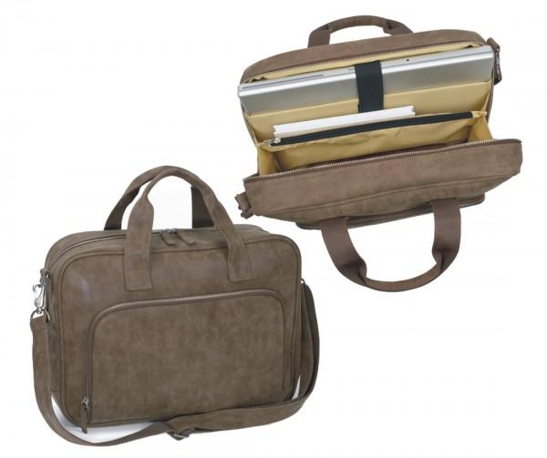 Laptoptasche lederähnliches Vintagematerial, braun excl. Marke EuroStyle
