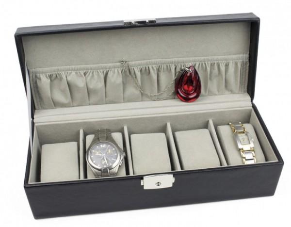 Uhrenkoffer lederähnliches Material, schwarz excl. Marke EuroStyle