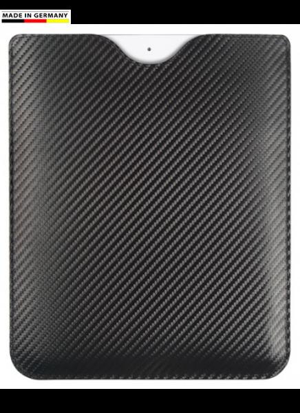 Handmade in Germany iPad Etui, Rindleder Carbon Optik schwarz excl. Marke EuroStyle