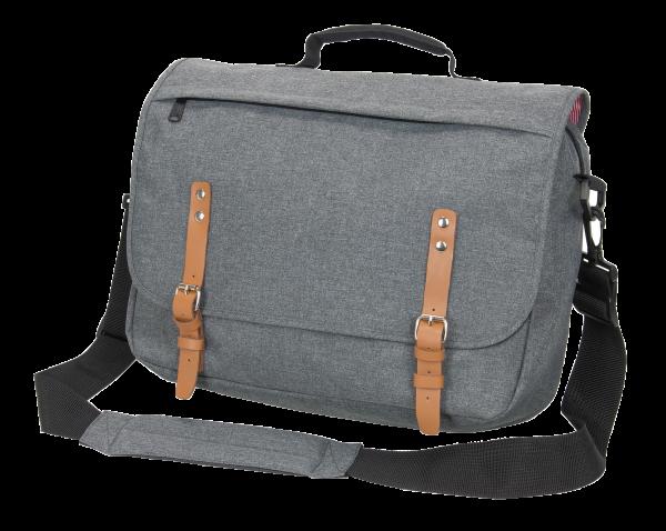 Businesstasche mit Schulterriemen - in Kombination aus Melange und Leder
