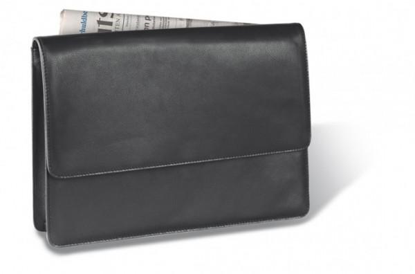 Collegemappe Seta- Rindnappaleder, schwarz excl. Marke EuroStyle
