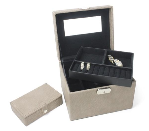 hochwertiger Schmuckkoffer, Rindleder in 2 Farben excl. Marke EuroStyle