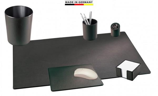 Schreibtischunterlagen Set Leder schwarz
