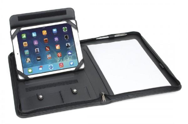 iPad Schreibmappe A4 m. Reißverschluss Lederähnliches Felina-Material, schwarz excl. Marke EuroStyle