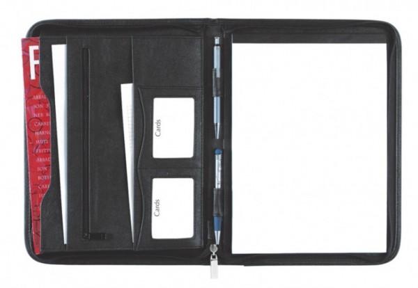 Schreibmappe A4 mit Reißverschluss Corello Kunstleder, schwarz excl. Marke EuroStyle