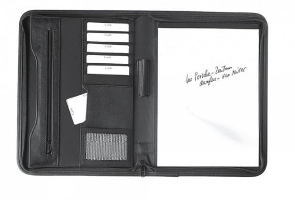 Schreibmappe A4 mit Reißverschluss Strapazierfähiges Polyester schwarz