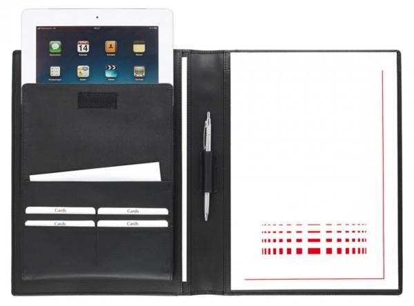 iPad Schreibmappe A4 – softes Vollrindleder schwarz – excl. Marke EuroStyle