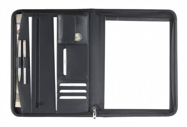 Schreibmappe A4 mit Reißverschluss Kunstleder schwarz