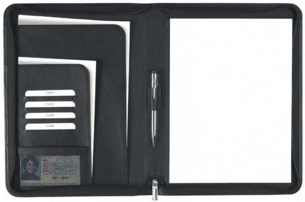 Schreibmappe A4 mit Reißverschluss Rindleder, schwarz – excl. Marke EuroStyle