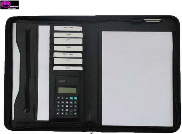 Schreibmappe Konferenzmappe mit Reißverschluss Kunstleder schwarz