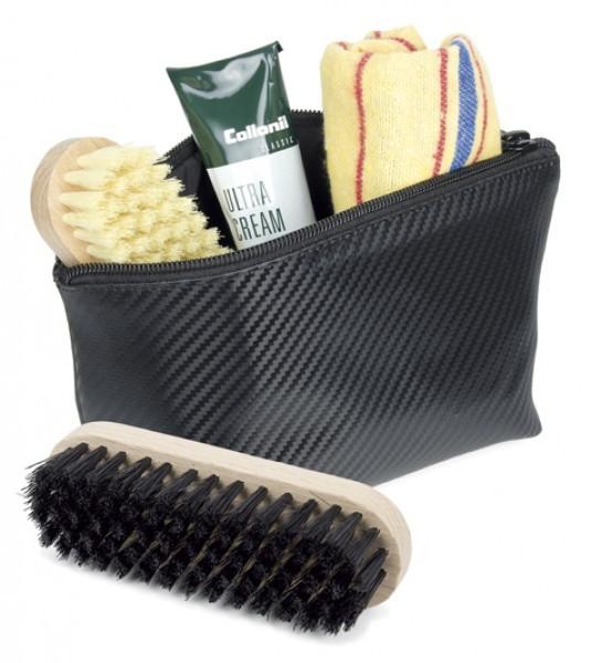 Schuhputzetui , Rindleder Carbon Optik schwarz, incl. Bürsten,Poliertuch u. Creme