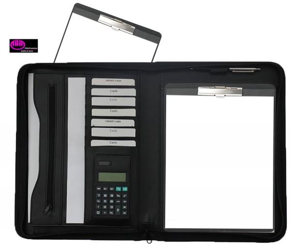 Schreibmappe A4 mit Reißverschluss-Klemmbrett- Lederähnliches Felina-Material schwarz