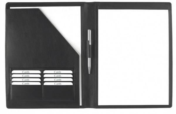 Schreibmappe A4 – Rindnappaleder schwarz – excl. Marke EuroStyle