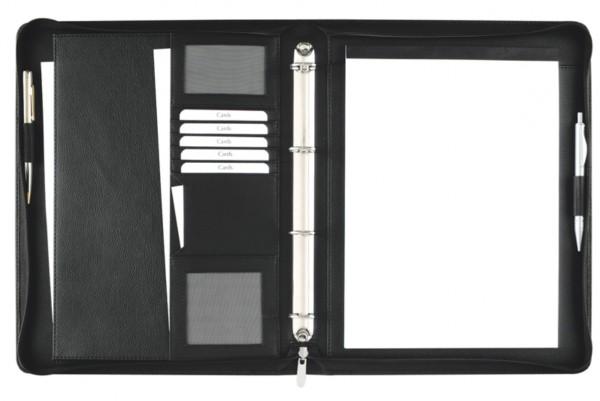 Ringbuchmappe A4 mit Reißverschluss Seta- Rindnappaleder, schwarz excl. Marke EuroStyle