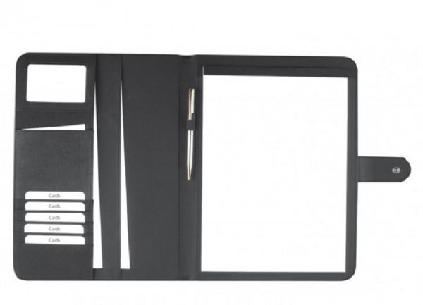 Schreibmappe A4 Polyester mit Applikation aus lederähnlichem Material, schwarz excl. Marke EuroStyle