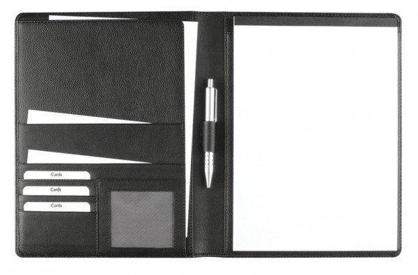 Schreibmappe A4 – Seta- Rindnappaleder schwarz – excl. Marke EuroStyle