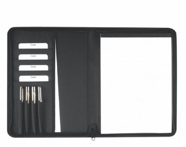 Schreibmappe A4 mit RV Polyester mit Applikationen aus lederähnlichem Material, schwarz excl. Marke
