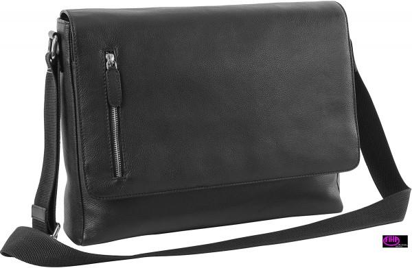 Ueberschlagtasche Leder schwarz