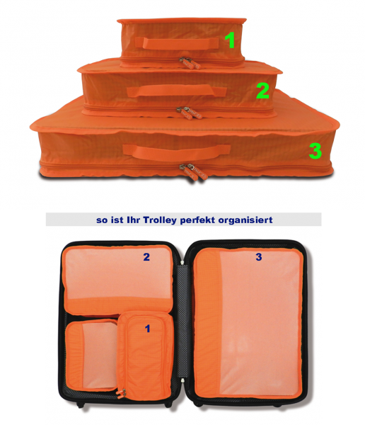 Trolley Organizer-Set 3tlg. - Ripstop - Material, in 3 Farben